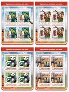 S. Tomè 2017, Stamp On Stamp, WWF, Gorillas, Parrots, Rhinos, Pandas, 4sheetlets