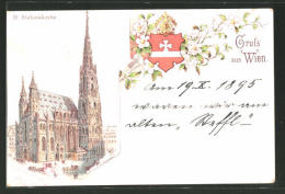 Lithographie Wien, St. Stephanskirche, Wappen - Vienne