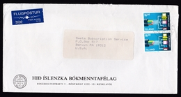 Iceland: Airmail Cover To USA, 1992, 2 Stamps, Internet, ICT, Europa, CEPT, Air Label (minor Discolouring At Back) - 1944-... Republique