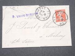 FRANCE - Type Semeuse Perforé VB Sur Lettre En 1909 De Bar Le Duc Pour Melisey - L 8008 - Perforés