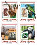 S. Tomè 2017, Stamp On Stamp, WWF, Gorillas, Parrots, Rhinos, Pandas, 4val In BF