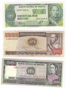 Bolivia Lot Of Three Notes UNC. 1000. 5000. 50000 Bolivars. - Bolivien