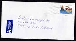 Iceland: Airmail Cover To Netherlands, 1994, 1 Stamp, Monk, Vulcano, Middle Ages, Europa, Air Label (minor Discolouring) - 1944-... Republique