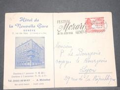 SUISSE - Carte D 'Hotel De Genève Pour La France En 1956 , Oblitération Festival Mozart  - L 8018 - Suisse