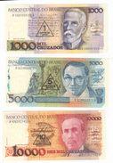 Brasil, Lot Of 3 Notes. 1, 5 And 10 Crusades. UNC. - Brasilien