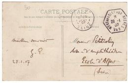 Hyères Mont Des Oiseaux 1907 - Hexagonal Agence à Gérance Gratuite Touristique Sur Carte Des Villas - Postmark Collection (Covers)