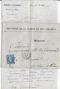 1865 - LETTRE à EN-TETE Du MINISTERE De La MARINE Et Des COLONIES De PARIS => ANGERS - Postmark Collection (Covers)