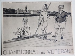 Grande Carte Illustrateur DUM Sport Aviron Championnat Des Vétérans Caricature - Illustrateurs & Photographes