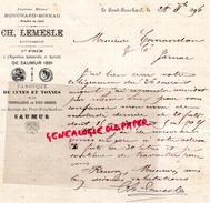 49- SAUMUR-LE PONT FOUCHARD-LETTRE MANUSCRITE SIGNEE CH. LEMESLE-BOUCHARD BINEAU- FABRIQUE CUVES TONNES TONNELLERIE-1896 - Old Professions