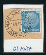 DEUTSCHE DIENSPOST-BÖHMEN-MÄHREN OLMÜTZ 18. 8.40 Briefstück Mit MiNr. 521 - Occupation 1938-45