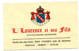 Carte Publicitaire Chagny Dezize Les Maranges Laurence Et Fils Vins Viticulteurs - Cartes De Visite
