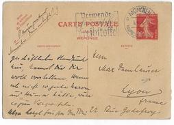 SEMEUSE - 1937 - RARE REPONSE CARTE ENTIER 90c De MÜNCHEN => LYON