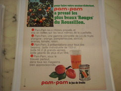 ANCIENNE PUBLICITE JUS DE FRUIT PAM PAM 1969 ROUGES DU ROUSSILLON - Posters