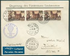 Service N°6 (bande De Trois) Obl. Dc VADUZ Sur Lettre Par Avion Vers Zürich 17-IX-1938 + Dc HORNUSSEN (21-IX) Et C Bleu - Service
