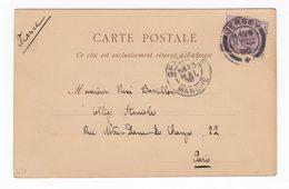 Sur Carte Postale Jersey Pour Paris Timbre One Penny CAD Jersey 1900. CAD Granville Manche. (1594) - Jersey