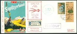 Israel LETTER FLIGHT EVENTS - 1957 FIRST TWA JETSTREAM FLIGHT LYDDA - SWITZERLAND, REGISTERED, *** - Mint Condition - - FDC