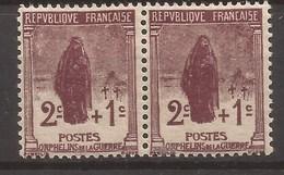 Francia 1926 Orphelins De La Guerra Yvert Nº 229 2c+1c Brun Lilas, Neuf ** PAREJA