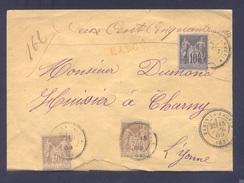 YONNE 89 ETAIS LA SAUVIN Env Vide Tad 24 Du 15/07/1889 CHARGE VD 250 F 2x30 C + 10 C Sage Rare B TB - Storia Postale