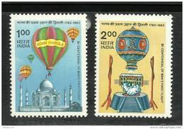 INDIA, 1983, Manned Flight,Bicentenary , Set 2 V ,MNH, (**)
