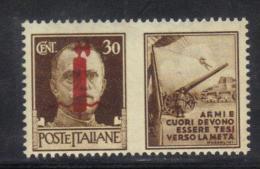 """Z994 - RSI , Propaganda Di Guerra """" Armi E Cuori..."""" : Il 30 Cent Bruno ** MNH - 4. 1944-45 Repubblica Sociale"""