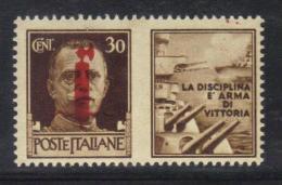 """Z995 - RSI , Propaganda Di Guerra """" La Disciplina è Arma Di Vittoria"""" : Il 30 Cent Bruno ** MNH - 4. 1944-45 Repubblica Sociale"""