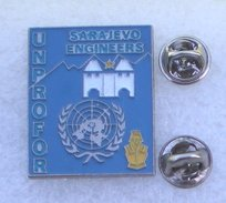 UNPROFOR SARAJEVO ENGINEERS PIN'S DOUBLE ATTACHES       BBBB  088 - Militaria