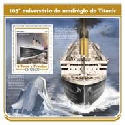 SAO TOME E PRINCIPE 2017 SHEET TITANIC NAVIOS NAVIRES SHIPS BOATS BARCOS St17209b