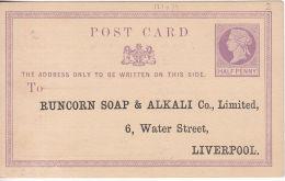 GB: QV ½d Postcard; Runcorn Soap & Alkali Co Ltd, 6 Water St, Liverpool, Unused - Ohne Zuordnung