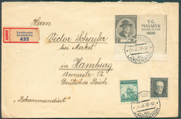 N°317-331-332 Obl. Dc LANSKRONN Sur Lettre Recommandée Du 13.11.1937 Vers Hamburg - Verso : Vignette Sea Aller Deutschen - Czechoslovakia