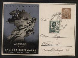 Dt. Reich - Privatganzsache/Postkarte PP 122 C75/01 + Zusatzfrankatur, SST FRANKFURT(ODER) 9.1.1938 - Tag Der Briefmarke