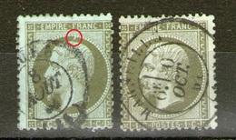 N° 19°_olive Sur Bleu_bronze Sur Vert_petits Défauts_perle éclatée_cote 95.00 - 1862 Napoléon III.