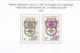 Cambogia 1963 Em.Malaria Surch.Cent.Croce Rossa Valori N.2 Usati  Scott B11+12 + See Scans