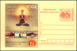 India, 2007, YOGA, Health, Meghdoot POST CARD, Unused, Stationery, Postcard, Life, Physical, Mental, Spiritual, Family.