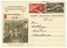 Suisse // Schweiz // Switzerland //  Entier Postaux  // Entier Postal Au Départ De Zurich Le 20.08.1947 - Entiers Postaux
