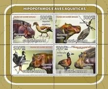 GUINE BISSAU 2008 SHEET HIPPOS HIPPOPOTAMUSES HIPOPOTAMOS NILPFERDEN IPPOPOTAMI AVES BIRDS PASSAROS OISEAUX Gb8211a - Guinea-Bissau