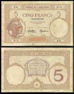 Tahiti Papeete 5 Francs 1927 F+ - Papeete (French Polynesia 1914-1985)