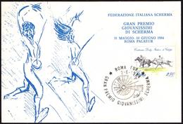 FENCING ITALIA ROMA 2.06.1984 - GRAN PREMIO GIOVANISSIMI DI SCHERMA - CARTOLINA UFFICIALE - Scherma
