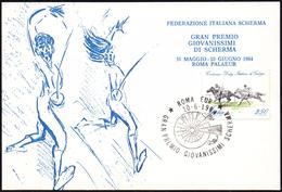 FENCING ITALIA ROMA 10.06.1984 - GRAN PREMIO GIOVANISSIMI DI SCHERMA - CARTOLINA UFFICIALE - Scherma