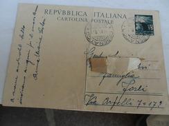 ITALIA  REP   CARTOLINA POSTALE  1950 DEMOCRATICA L.15 - 6. 1946-.. Repubblica
