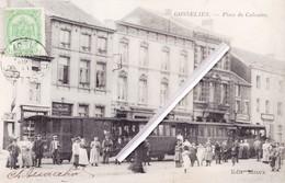 GOSSELIES -Place Du Calvaire - Splendide Carte Animée Avec Tamways Vapeur à L'arret