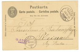 Suisse // Schweiz // Switzerland //  Entier Postaux  // Entier Postal  Au Départ De Aarau Le 07.11.1890