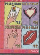 PHLIPPINES, 2017, MNH, VALENTINES DAY, SWEETS, RINGS,4v
