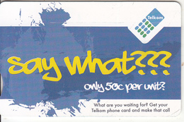 SOUTH AFRICA(chip) - Say What ???, Telkom Telecard R25, Chip GEM3.3, Exp.date 06/14, Used