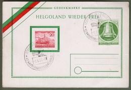 """Bund + Berlin: Sonderkarte Mi.-Nr. 152 U. Berlin Mi-Nr.  83 SST: """"Gedenkmarke Helgoland Wieder Frei"""" !      X - Gebraucht"""