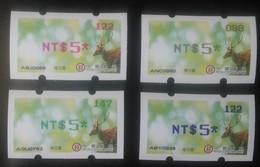 Complete 4 Colors 2017 Taiwan ATM Frama Stamp-Sika Deer Unusual