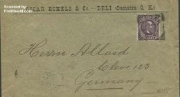 Netherlands Indies 1894 Envelope From Sumatra To Cleve, Germany With Cleve Mark, (Postal History) - India Holandeses
