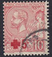 MONACO - 1914 -  Yvert 26 Usato - 5 Cent. Su 10 Cent., Rosa, A Favore Della Croce Rossa. - Monaco
