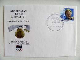 Fdc Cover From Australia 2002 Australian Gold Medallist Olympic Games Salt Lake City Steven Bradbury Speed Skating - Sobre Primer Día (FDC)