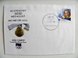 Fdc Cover From Australia 2002 Australian Gold Medallist Olympic Games Salt Lake City Alisa Camplin Freestyle Skiing - Sobre Primer Día (FDC)