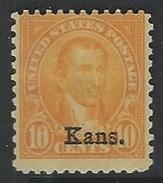 US  1929   Sc#668  10c  KANS Overprint  MLH*  2016 Scott Value $22.50 - Unused Stamps